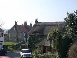 A view of a thatched cottage in Hinderwell